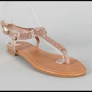 Shoes - Rose Gold Flats with Rhinestones